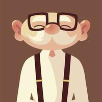 cute old man senior cartoon with glasses and suspenders vector