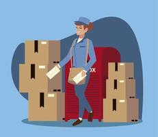 Servicio postal trabajadora de correos con sobres de buzón y cajas vector