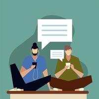 hombres jóvenes que usan mensajes de aplicaciones de redes sociales de teléfonos inteligentes vector