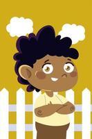 niño pequeño de pie cerca de madera dibujos animados de fondo, niños vector