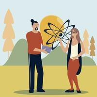 man and woman with bulb and molecule outdoor vector