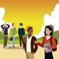 men students with books and bags in the outdoors vector