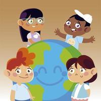niñas y niños felices con dibujos animados del mundo, niños vector