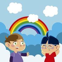 little boys character rainbow clouds sky cartoon, children vector