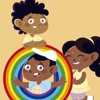 cute little girl and boys cartoon characters, children vector