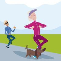 seniors active, old man and woman jogging with dog characters vector