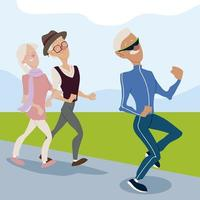 seniors active, old man jogging and elderly couple walking vector