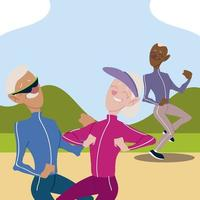 seniors active, old couple jogging and elderly man practicing exercise vector