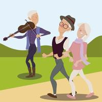 seniors active, happy old man playing violin and old couple walking vector