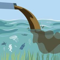 pollution, dirty water and trash emission from pipes vector