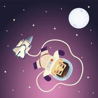 space floating astronaut spaceship and moon galaxy cartoon vector