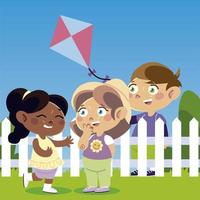 funny girls and boy with kite cartoon, children vector
