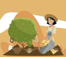 gardening, woman trimming a tree with clippers vector