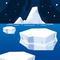 iceberg melted ice winter sea night north pole vector