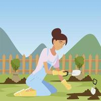gardening, woman with trowel planting trees vector