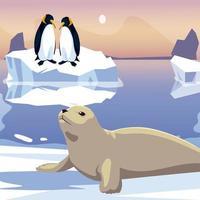 pingüinos y focas en el mar de iceberg derretido vector