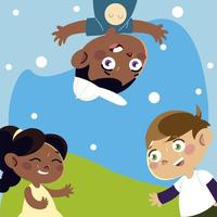 funny girl and boys characters playing cartoon, children vector