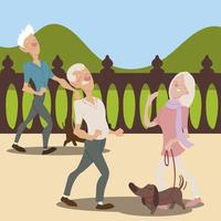 seniors active, elderly couple with dog and old man walking vector