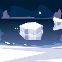 iceberg polo norte derritiéndose escena nocturna del mar vector