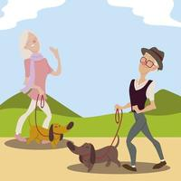 seniors active, old man and elderly woman walking with dogs vector