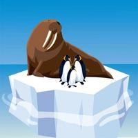 walrus and penguins on melted iceberg in the north pole vector