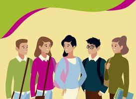 diverse college or university students characters male and female vector