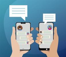manos con teléfonos inteligentes y burbujas de chat en la pantalla vector