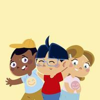 cute little boys and girl characters cartoon, children vector