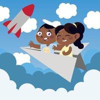 cute little girl and boy on paper plane cartoon, children vector