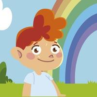 happy little boy rainbow sky cartoon, children vector