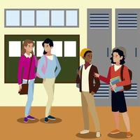 people students talking together hall campus cartoon vector