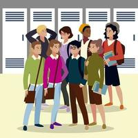 group university students with books and bags, cartoon style vector