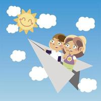 cute boy and girl on paper plane cartoon, children vector