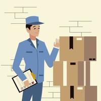 postal service postman character with check list and stack of boxes vector
