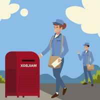 Los trabajadores del servicio postal con bolsa en la calle. vector