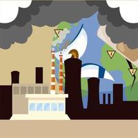 triste planeta contaminando fábricas, mal impacto en la ecología y la naturaleza vector