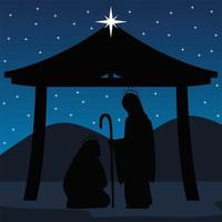 nativity joseph and mary in the stable silhouette scene manger vector