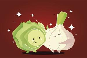 verduras kawaii caricatura feliz cebolla y repollo vector