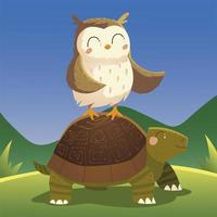 cartoon animals owl on turtle in the grass nature vector