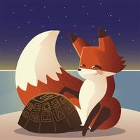 cute fox and turtle wild nature cartoon animal vector