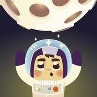 space astronaut in spacesuit with moon cosmos galaxy cartoon vector