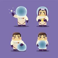 space astronauts set with suit helmet and star cartoon characters vector