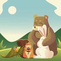 cartoon animals bear rabbit parrot and squirrel in the landscape vector