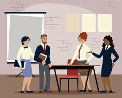 business people with documents and presentation board working vector