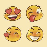 emoji caras expresión divertido amor feliz y conjunto sorprendido vector