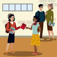 students male and female holding books education and academic image vector