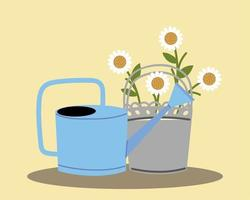 gardening, watering can and flowers in pot decoration vector