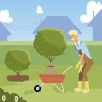 gardening, old man gardener with wheelbarrow and tree for planting vector