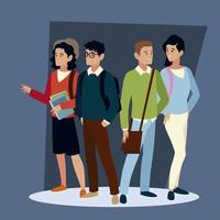 students different characters with bags and books vector
