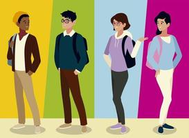 students male and female characters with backpacks, colored background vector